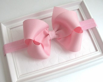Pink Bow Headband, Baby Headband, Light Pink Hair Bow, 4 inch Boutique Bow, Newborn Headband