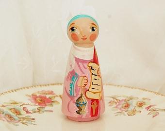 Saint Phoebe Catholic Saint Doll - Wooden Toy - Made to Order