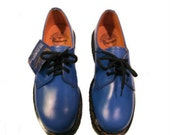 Dr Marten 1980s Blue Leather 3 Eyelet Doc Marten DM Gibsons from England Womans sz 7