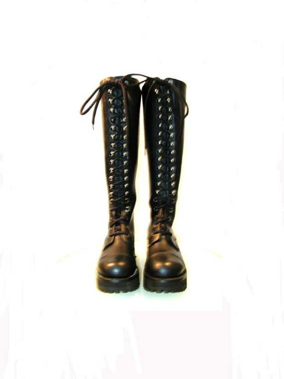 Black Leather Knee High Boots Industrial Strength Lace Front  Wms size 5