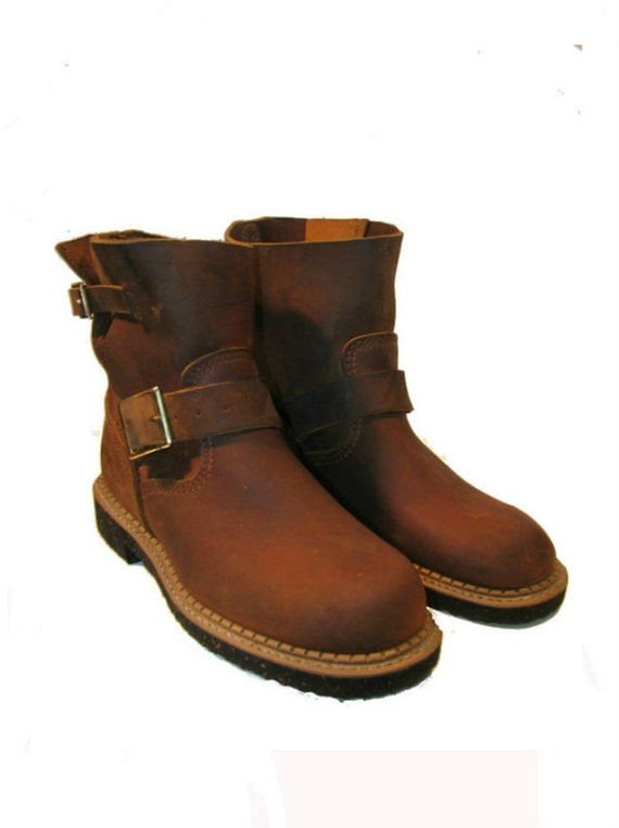 "Vintage Brown Leather GEORGIA  ""Home Mades"" Shorty Engineer Bike Boots Wms sz 7 1/2"