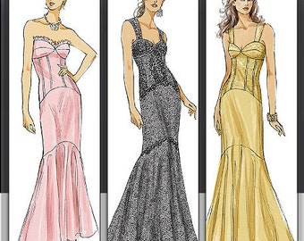 Sz 4/6/8/10 - Vogue Dress Pattern V8288 - Misses' Mermaid Style Corset Dress in 3 Variations