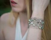 Silver Titanium Cuff Bracelet Mint Pearl Bracelet Statement Bracelet Modern Wire Mesh Arm Cuff Freshwater Pearl Crystal Mint Green Grey