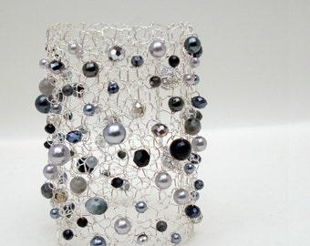 Statement Jewelry Gemstone Bracelet Beaded Bracelet Statement Bracelet Wide Cuff Bracelet Labradorite Bracelet Silver Bracelet