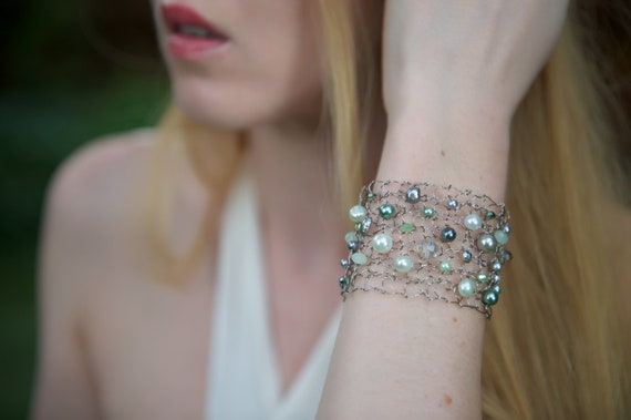 Pearl Cuff Bracelet Titanium Bracelet Delicate Bracelet Beaded Bracelets Statement Bracelet Mint Wedding Mint Gray Bracelet Arm Cuff