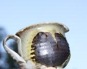 Ceramic Heart Creamer Vintage Pottery Dark Heart Olive Brown Creamy white inside
