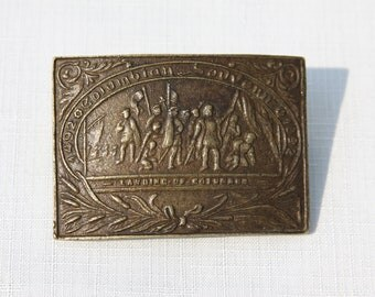 Vintage Souvenir Belt Buckle Brass Columbian Exposition Worlds Fair 1892