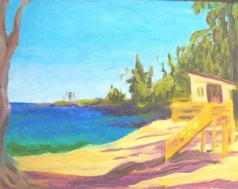 DT Fleming Beach Maui plein air painting 11x14 oil