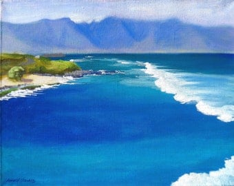 Blue Ocean Island Art - giclee reproduction of original oil painting featuring Ho'okipa Lookout - 16x20