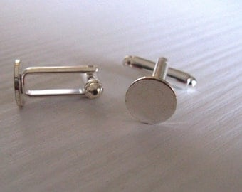 Cuff links with pad - set of 10 - silver plated - findings to decorate