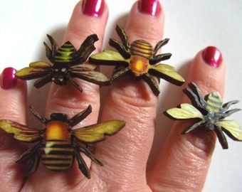 BEE, Bumble Bee, ring, wooden ring, by NewellsJewels on etsy