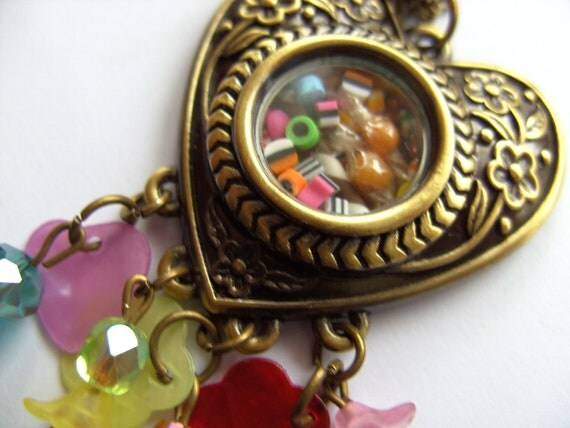 Sweet, love heart, locket, pendant, necklace, miniature, sweets, candy, by NewellsJewells on etsy