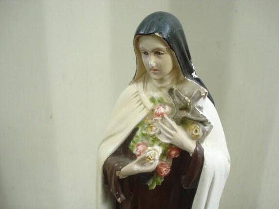 Vintage St. Therese Statue Little Flower Chalkware Depositato Italy