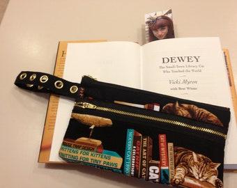 Golden Cats & Books wristlet purse