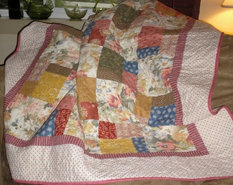 Patchwork Quilt Country Cottage Lap Size Quiltsy Handmade