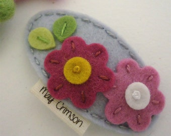 Felt hair clip -No slip -Wool felt -Flora -silver grey