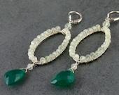 Prehnite earrings, handmade green onyx, sterling silver earrings- OOAK designer jewelry