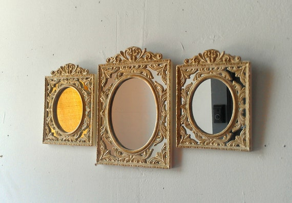 Oval Wall Mirror Set of Three Small Vintage Frames in Gold and Ivory