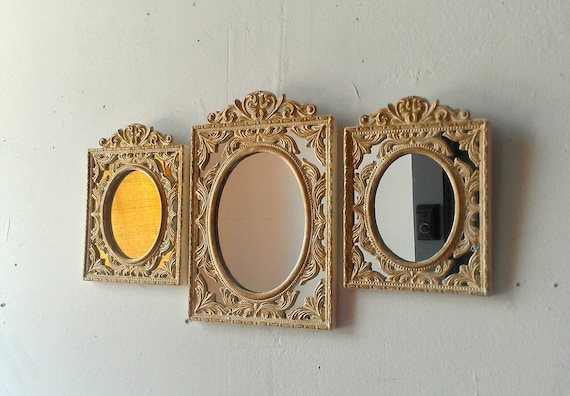 Oval Wall Mirror Set of Three Small Vintage Frames in Gold and