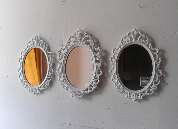 White Oval Mirror Set of Three in Vintage Metal Frames 10 by 7 inches