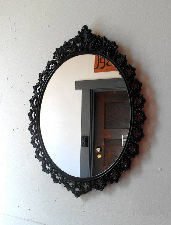 Oval Wall Mirror In Vintage Metal Frame 15 X 11 Inch