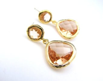 unique golden round post earrings with champagne gold quartz drop - Free US shipping