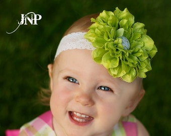 Coralie Lime Green Silk Flower with Lace Clip OR Headband Baby Girl Toddler Photography Prop