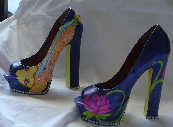 "custom painted ""Koi and Lotus"" size 8 peep toe pumps with 5"" heel."