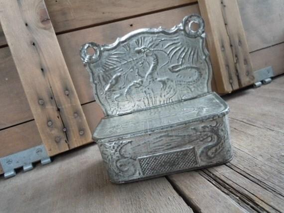 Tin Match Safe Victorian Era 1900s Embossed Metal Dragon Themed Rustic Patina