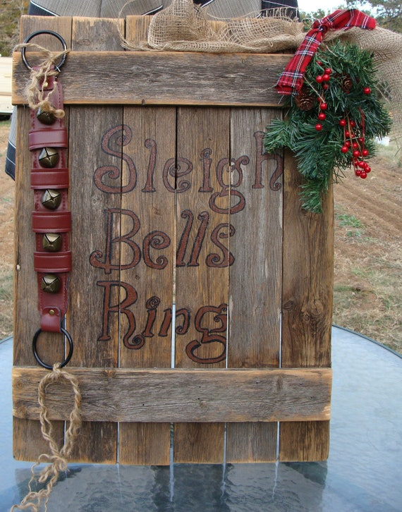 Mantle Sign Sleigh Bells Ring Rustic Christmas Large By Dables