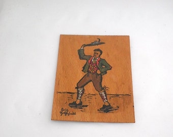 Vintage Traditional Costume Woodcut Print on Wood - Bavaria - Germany - Europe