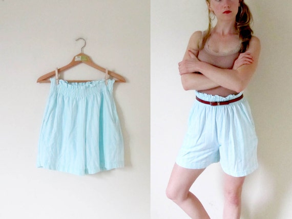 SALE // vintage 1980s Shorts // Elastic Ruffle Waist // Mint Green // Striped Cotton // High Waisted // S