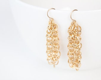 Gold Dangle Earrings - Mia