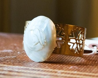 Brass Cuff Bracelet with Large Mother of Pearl Brooch
