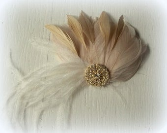 Wedding Hair Accessories, Gold Champagne Fascinator, Gold Brooch, Wedding Fascinator, Feather Hair Clip, Bridal Accessories, Gold Brooch