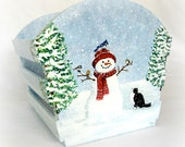 Christmas Gift Basket - Snowman and Kitty Cat Winter Holiday Scene - Christmas Home Decor - Hand Painted Handmade Basket Holiday Scene
