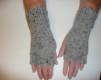Hand Knit Fingerless Mittens/Gloves-Texting Gloves - Grey Fleck Wrist Warmers- One Size Fits All