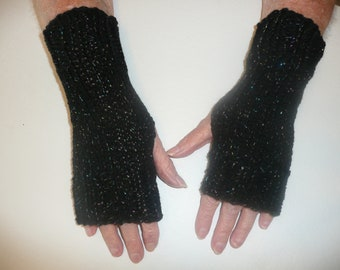 Hand Knit Fingerless Mittens/Texting Gloves - Black Glitter Wrist Warmers- One Size Fits All