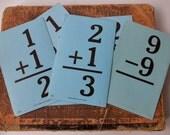 8 LARGE Vintage Blue Flashcards - addition, subtraction