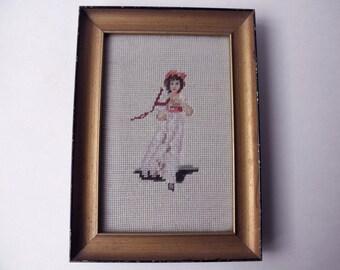Vintage FRAMED NEEDLEPOINT- Pinky, girl