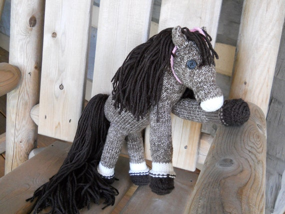 Pretty Pony Brownie Hand Knit Filly, Ready to Ship