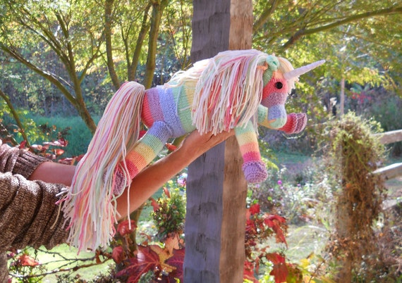 Pastel Rainbow Unicorn hand knit