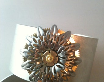 Stacked Gear and Flowers Cuff Bracelet