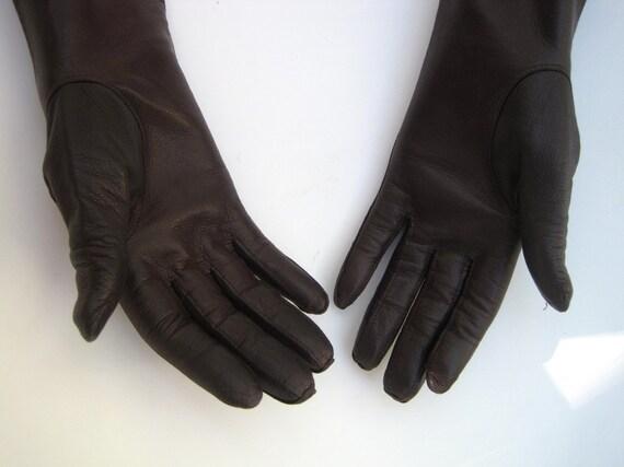 Long Brown Gloves Kid Leather - Vintage Kid Gloves - Chocolate Brown Gloves