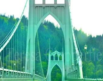St.Johns Bridge, PDX, Urban Decor, Fine Art Photography, Green Bridge, Famous Portland Bridge, Woodland Photo, Vintage Era, 8 x 12, 12 x 18,