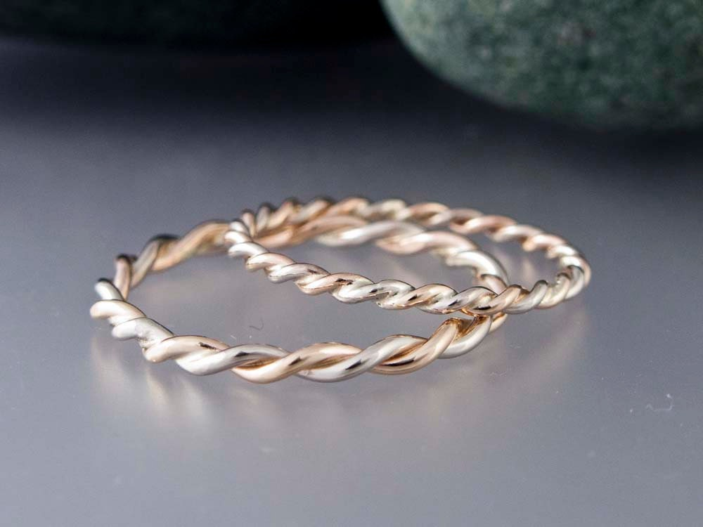 14k Gold Rope Twist Wedding Ring Set 1.6mm And By