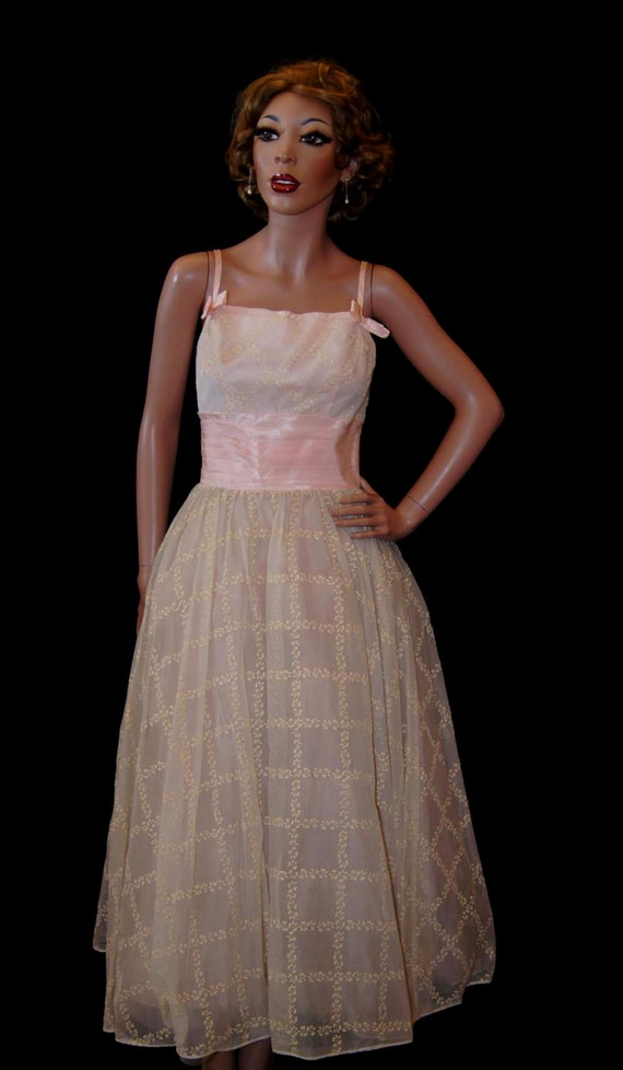 Vintage 1950s Party Dress / Vintage 50s Lorrie Deb Pink Full Skirt Party Dress, xs/s