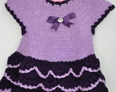 CUSTOM ORDER for Susan Henry Crocheted Baby Girl Dress in Lavender and Purple Size 6-9 months
