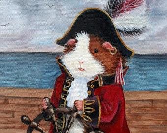 Broccoli Jones - Pirate Guinea Pig Fine Art Print