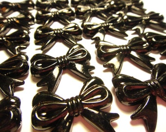 colorful Plastic black bow beads (with hole) mm 16pcs 23mm
